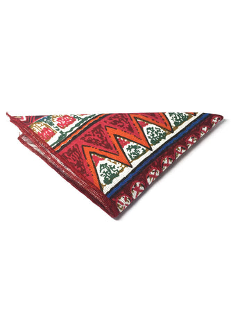 Tomahawk Series Red Patterned Design Cotton Pocket Square