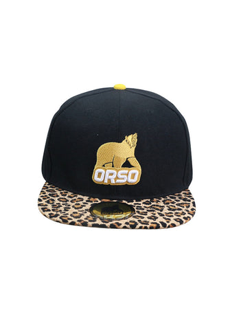 Orso Limited Edition Leopard Prints Visor Black Cotton Cap