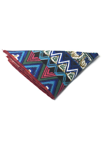 Tomahawk Series Blue Patterned Design Cotton Pocket Square