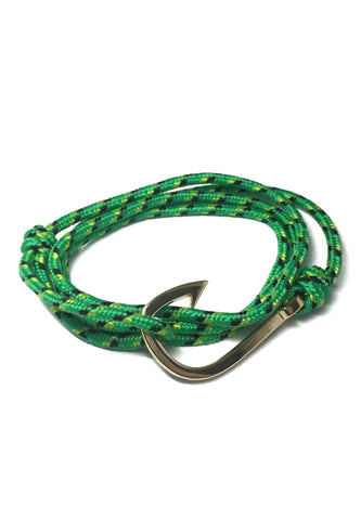 Angle Series Black and Yellow Spots Green Polyester Strap Gold Fishing Hook Bracelet