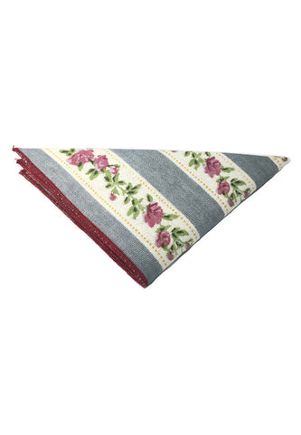Tomahawk Series Grey and White Floral Design Cotton Pocket Square