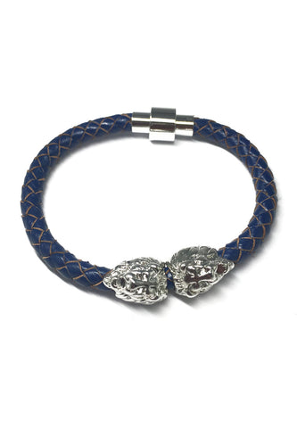 Duple Series Blue Real Leather Strap with Double Silver Lion Head Bracelet