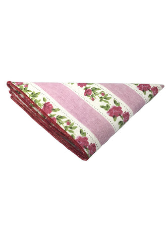Tomahawk Series Pink and White Floral Design Cotton Pocket Square