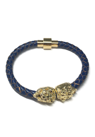 Duple Series Blue Real Leather Strap with Double Gold Lion Head Bracelet