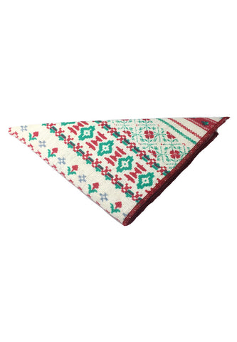 Tomahawk Series White and Green Patterned Design Cotton Pocket Square