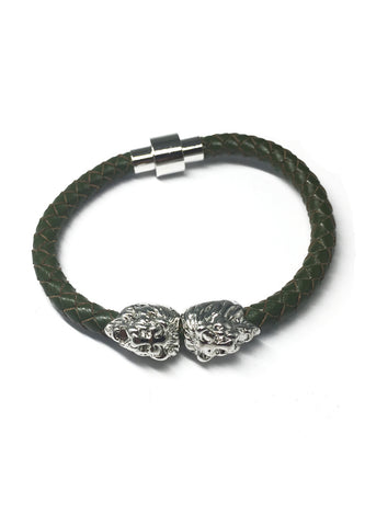 Duple Series Green Real Leather Strap with Double Silver Lion Head Bracelet