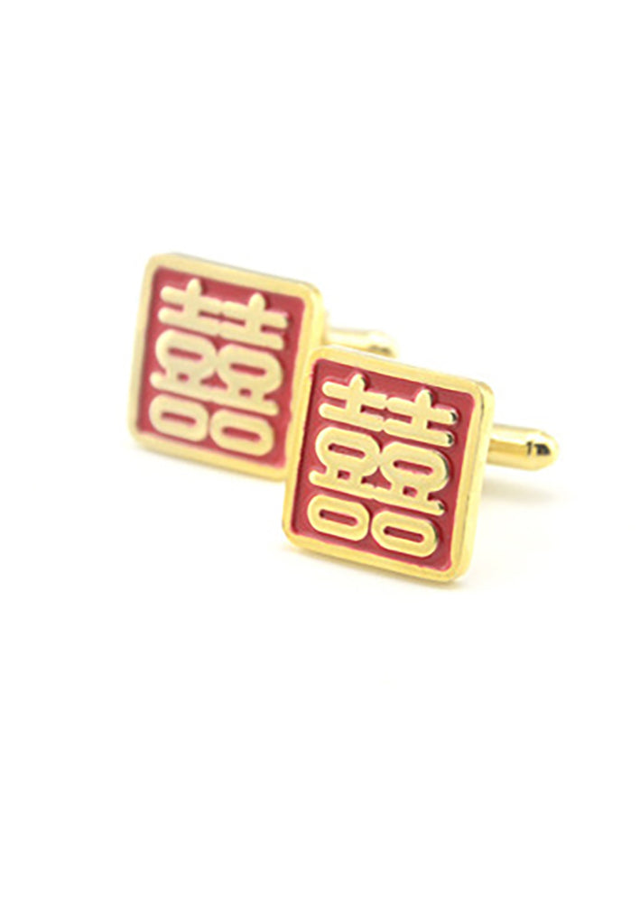 Gold Chinese Double Happiness Cufflinks