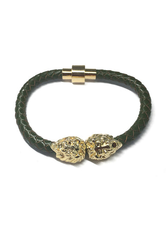 Duple Series Green Real Leather Strap With Double Gold Lion Head Bracelet