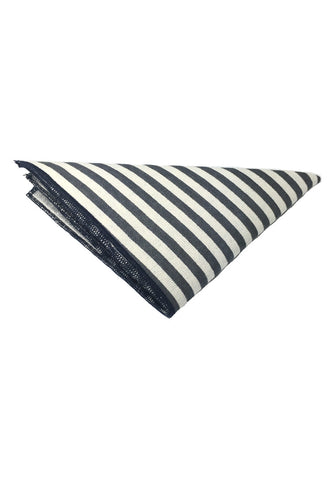 Tomahawk Series Grey Stripes Design Cotton Pocket Square