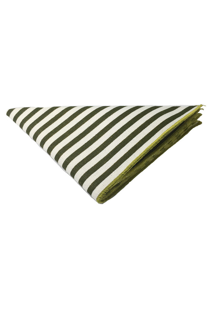 Tomahawk Series Green Stripes Design Cotton Pocket Square