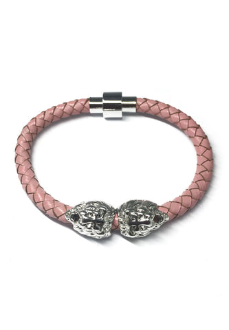Duple Series Pink Real Leather Strap with Double Silver Lion Head Bracelet