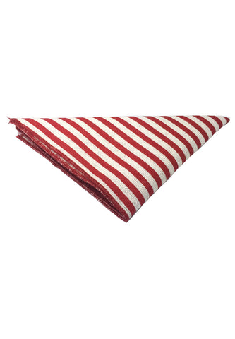 Tomahawk Series Red Stripes Design Cotton Pocket Square