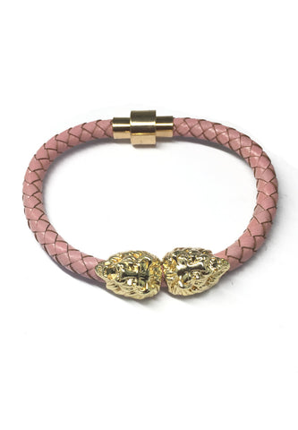 Duple Series Pink Real Leather Strap with Double Gold Lion Head Bracelet