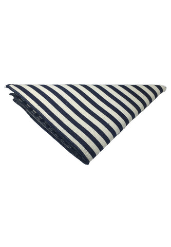 Tomahawk Series Blue Stripes Design Cotton Pocket Square