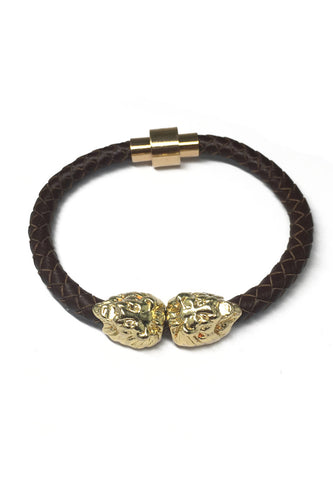 Duple Series Brown Real Leather Strap with Double Gold Lion Head Bracelet
