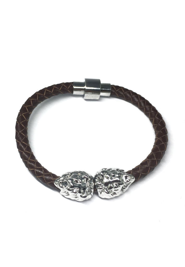 Duple Series Brown Real Leather Strap with Double Silver Lion Head Bracelet