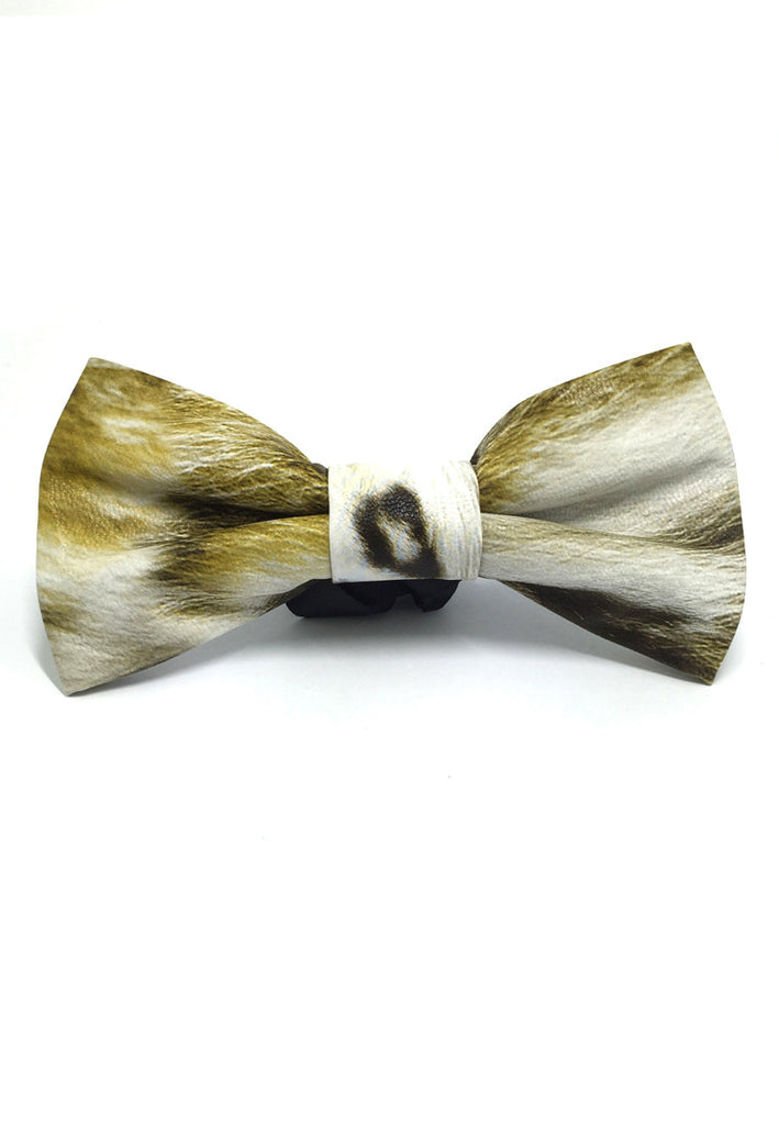 Fluky Series Gold & White Patterned PU Leather Bow Tie