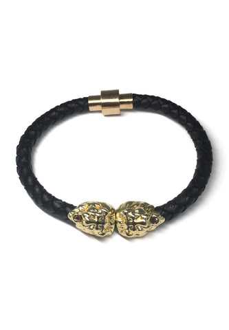 Duple Series Black Real Leather Strap with Double Gold Lion Head Bracelet