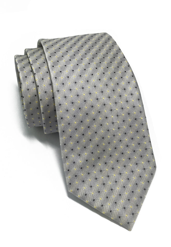 Atom Series Silver Polyester Tie