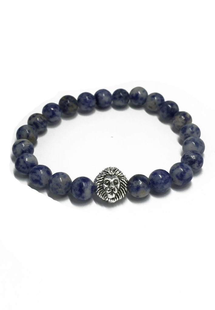 Masonry Series Blue Natural Stone Beads Silver Lion Head Bracelet