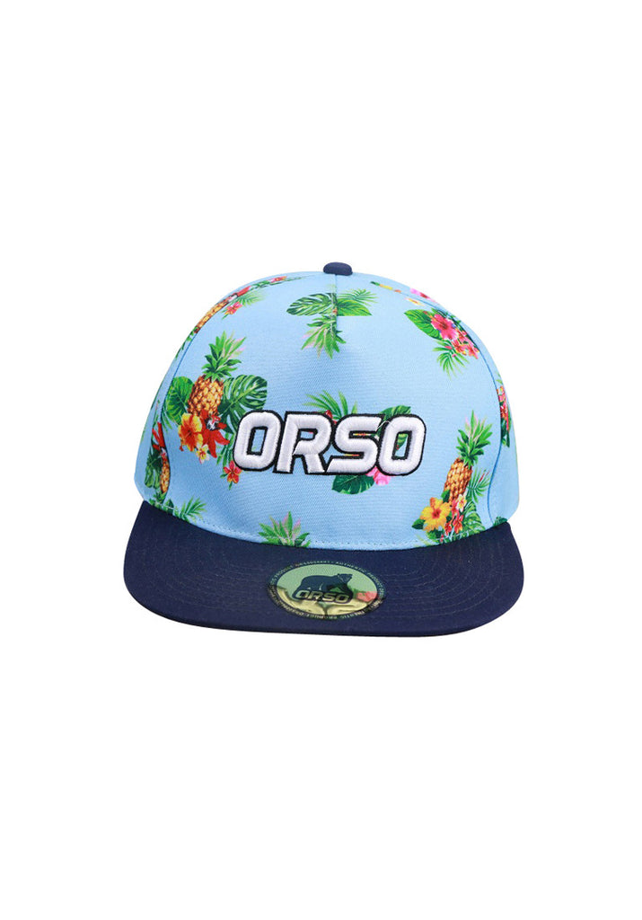 Orso Limited Edition Navy Blue Visor Pineapple Design Baby Blue Cotton Cap