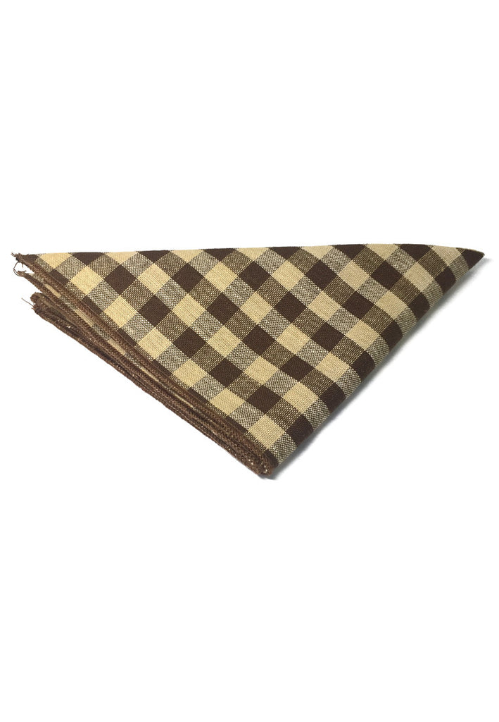 Patchwork Series Brown Plaids Design Cotton Pocket Square