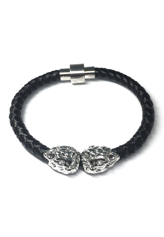 Duple Series Black Real Leather Strap with Double Silver Lion Head Bracelet