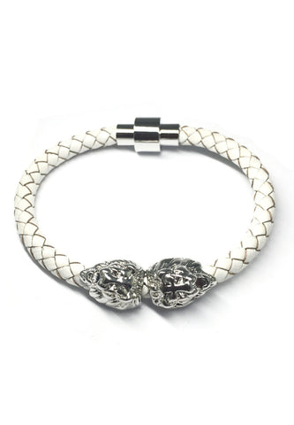 Duple Series White Real Leather Strap with Double Silver Lion Head Bracelet