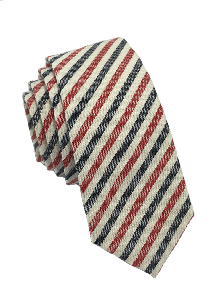 Passe Series Blue Red & White Thin Stripes Cotton Tie