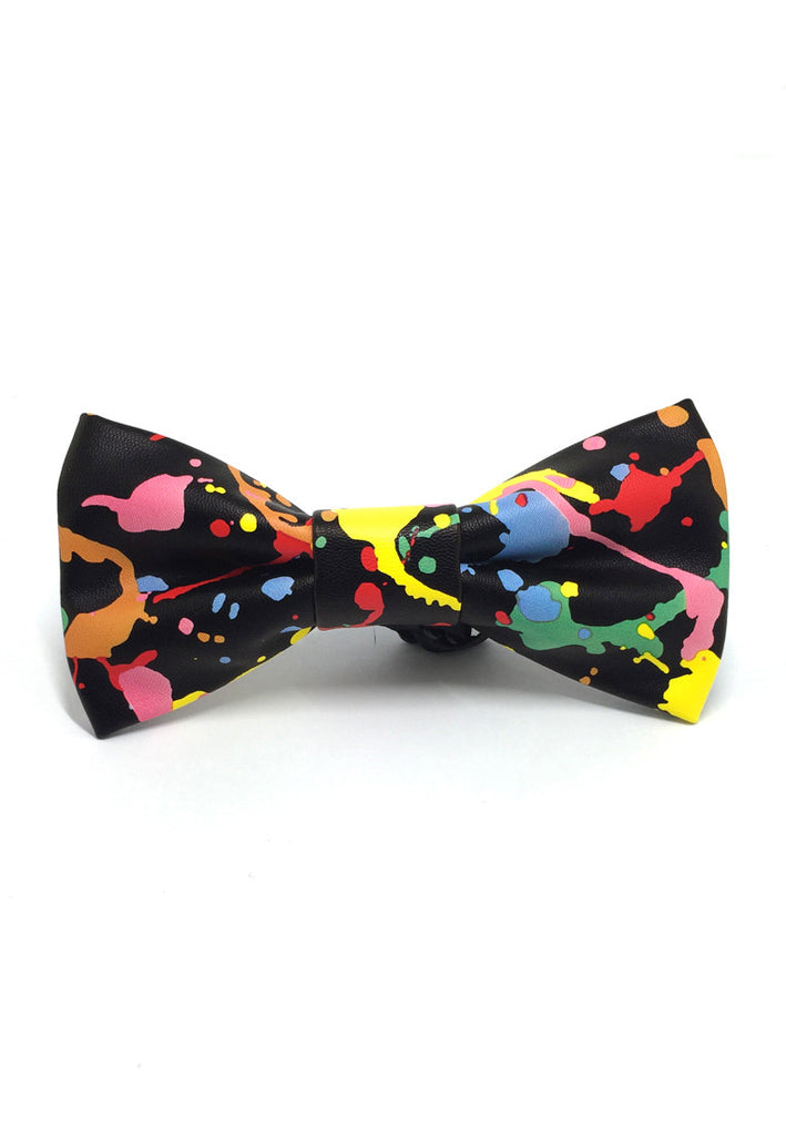 Fluky Series Colourful Floral Paint Design PU Leather Bow Tie