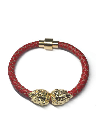Duple Series Red Real Leather Strap with Double Gold Lion Head Bracelet