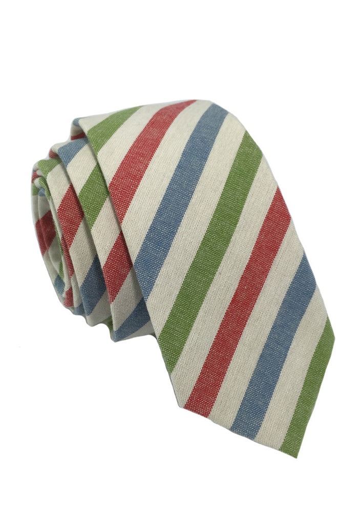 Passe Series Blue Red Green & White Stripes Cotton Tie
