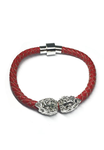 Duple Series Red Real Leather Strap with Double Silver Lion Head Bracelet