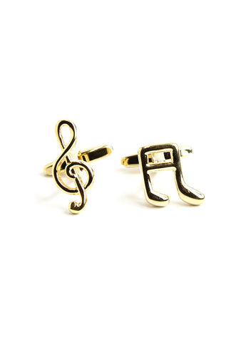 Gold Plated Musical Note & Treble Clef Cufflinks