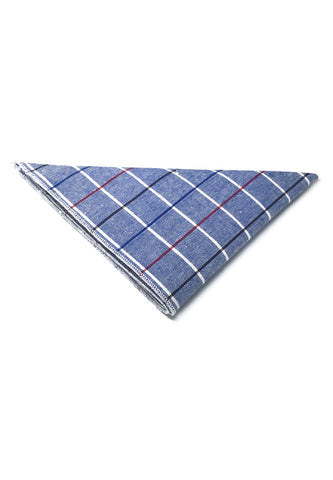 Patchwork Series Black, Red and Sky Blue Lines Plaids Design Blue Cotton Pocket Square