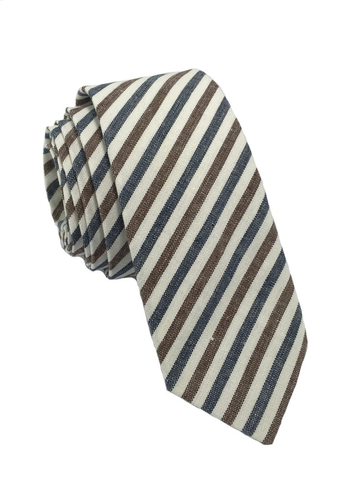 Passe Series Blue Brown & White Thin Stripes Cotton Tie