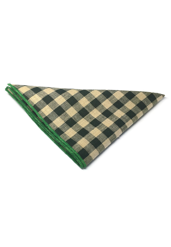 Patchwork Series Dark Green Plaids Design with Green Linings Cotton Pocket Square