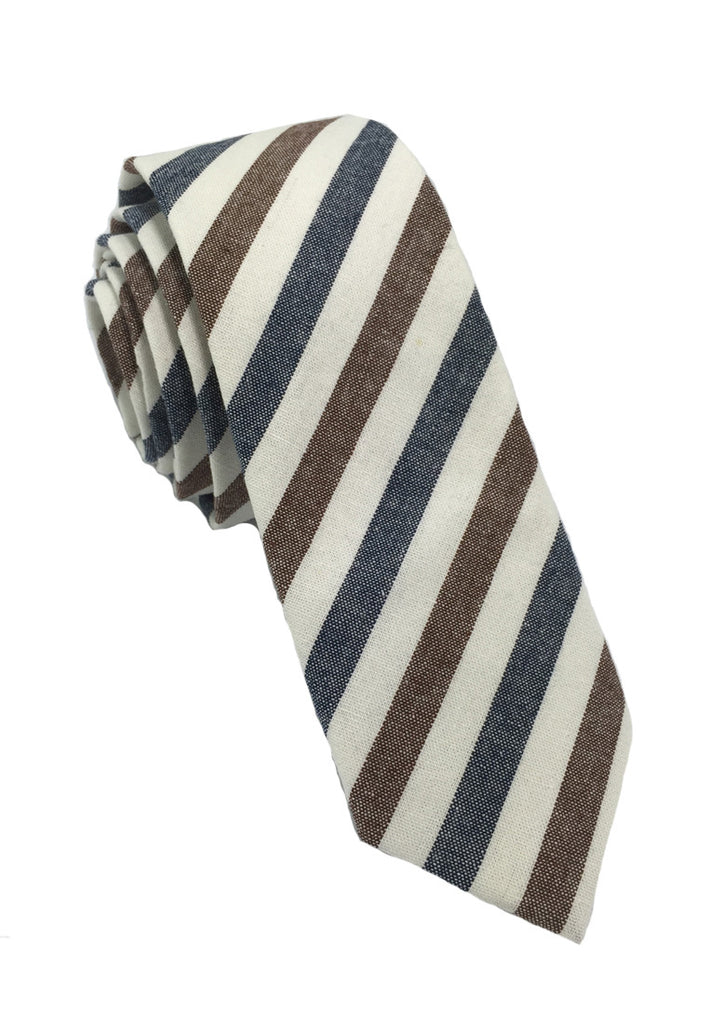 Passe Series Blue Brown & White Stripes Cotton Tie