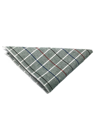 Patchwork Series Black, Red and Sky Blue Lines Plaids Design Grey Cotton Pocket Square