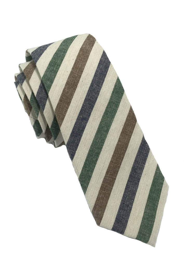 Passe Series Blue Brown Green & White Stripes Cotton Tie