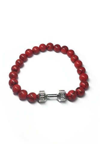 Masonry Series Red Natural Stone Beads Silver Dumbbell Bracelet