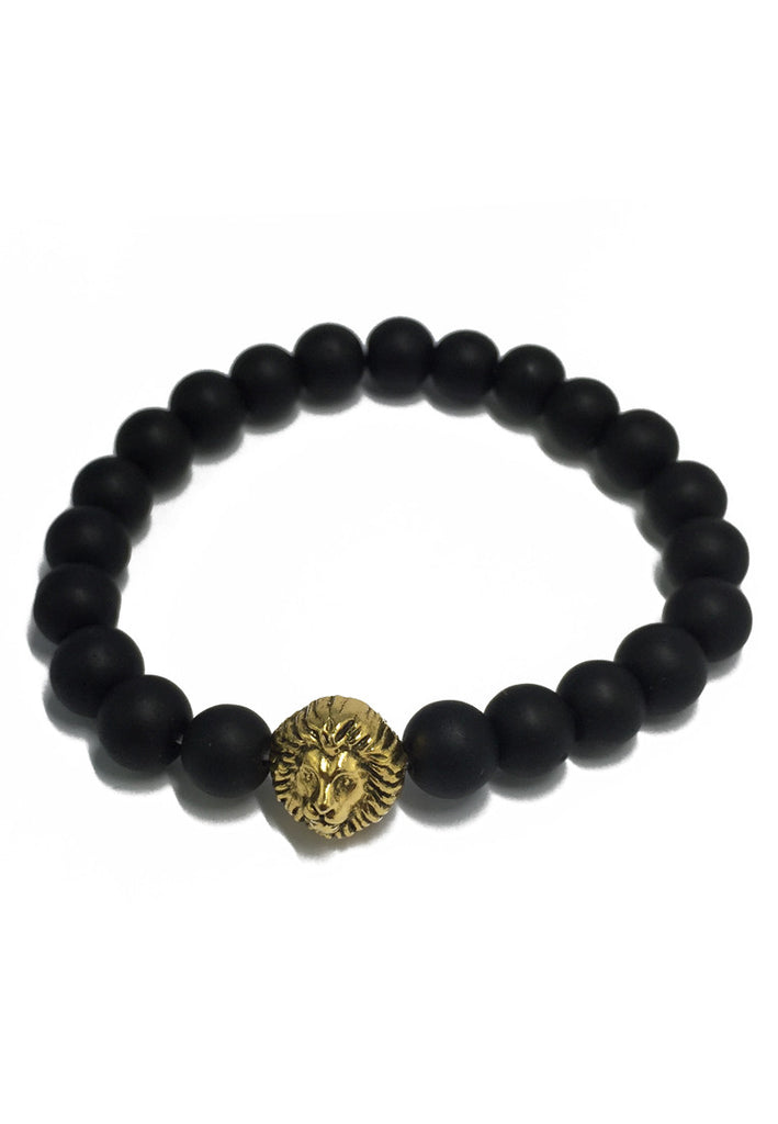 Masonry Series Matt Black Natural Stone Beads Gold Lion Head Bracelet