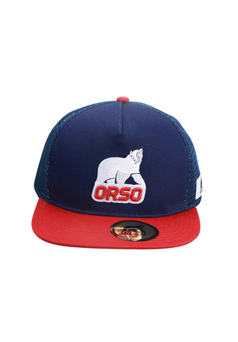 Orso Limited Edition Red Visor Navy Blue Cotton Cap