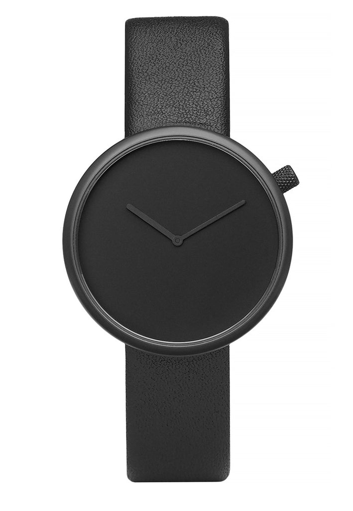 Bulbul Ore Black Steel on Black Italian Leather Watch