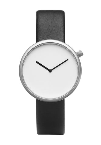 Bulbul Ore Matte Steel on Black Italian Leather Watch