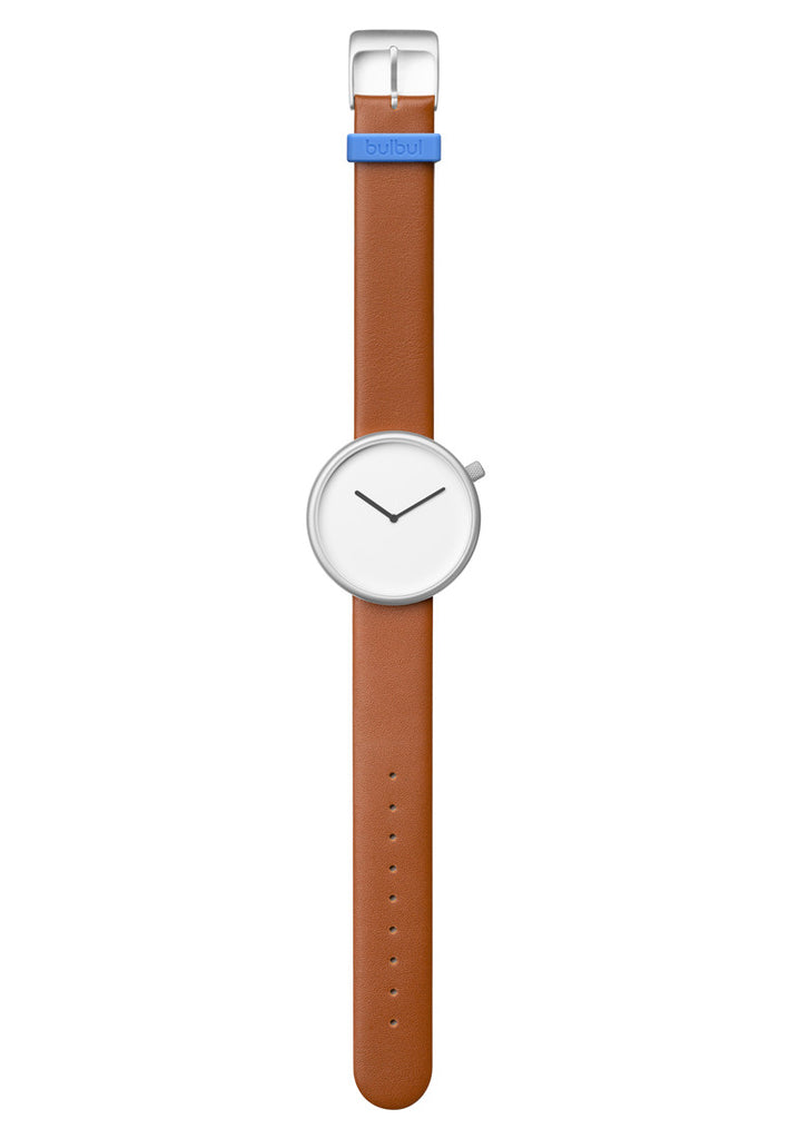 Bulbul Ore Matte Steel on Brown Italian Leather Watch