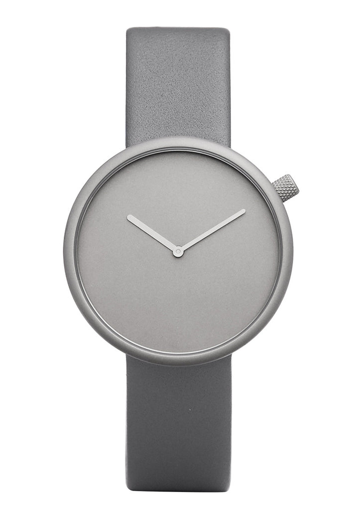 Bulbul Ore Stone Grey Titanium Coated Steel on Grey Italian Leather Watch