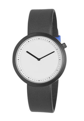 Bulbul Facette Gun Grey Steel on Grey Italian Leather Watch