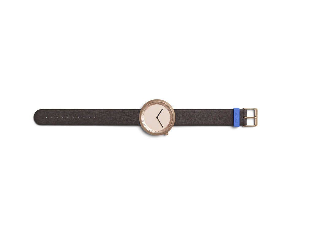 Bulbul Facette Rose Golden Steel on Brown Italian Leather Watch