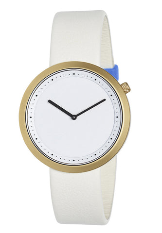Bulbul Facette Golden Steel on Cream Italian Leather Watch